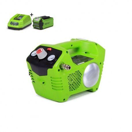Greenworks G40ACK2 Accu compressor   40 Volt compressor met 2 liter tank met 2Ah accu en lader