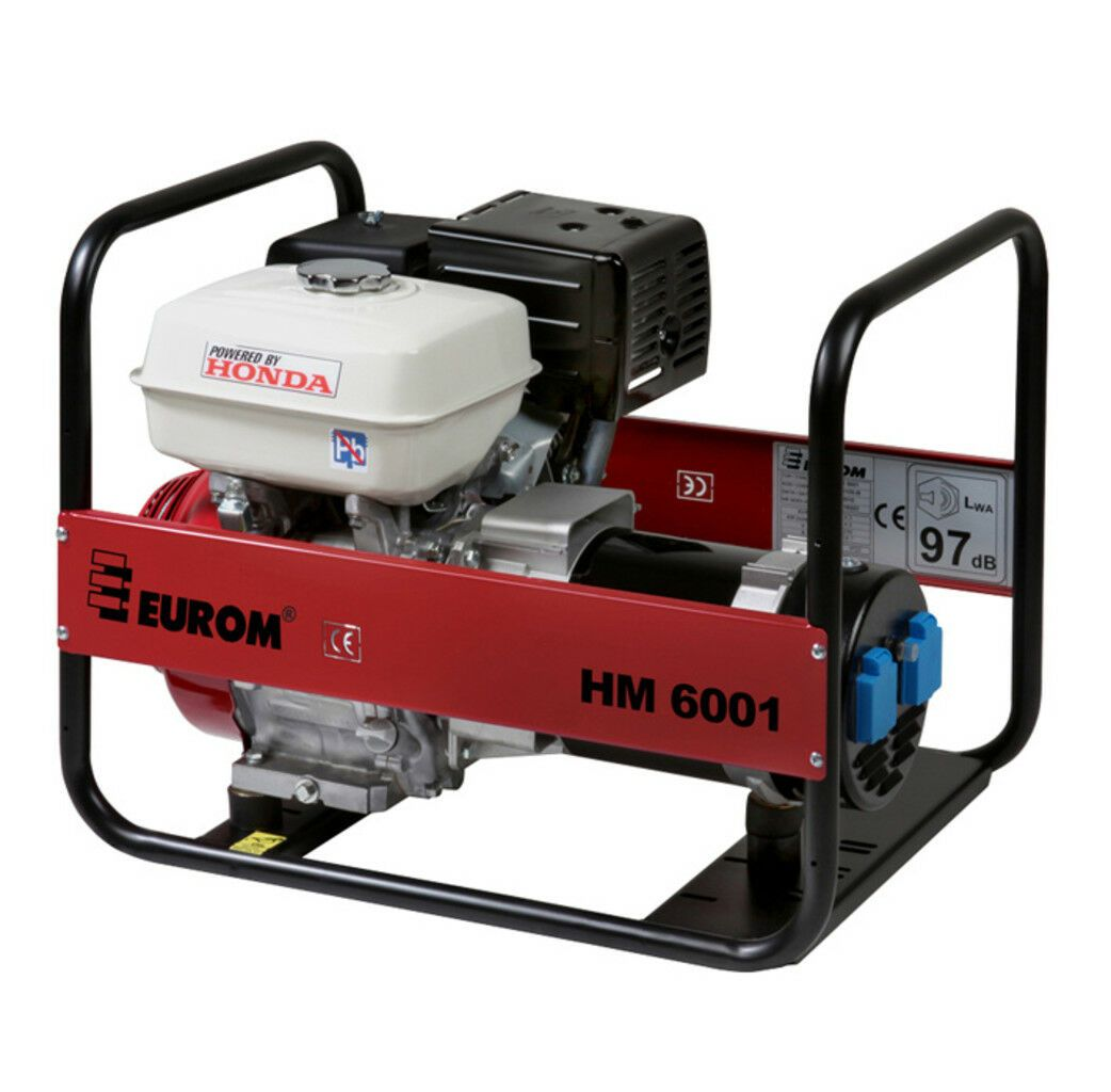 Eurom HM6001 Benzine generator 270cc   Aggregaat 4,6 kVa   Honda motor 230V