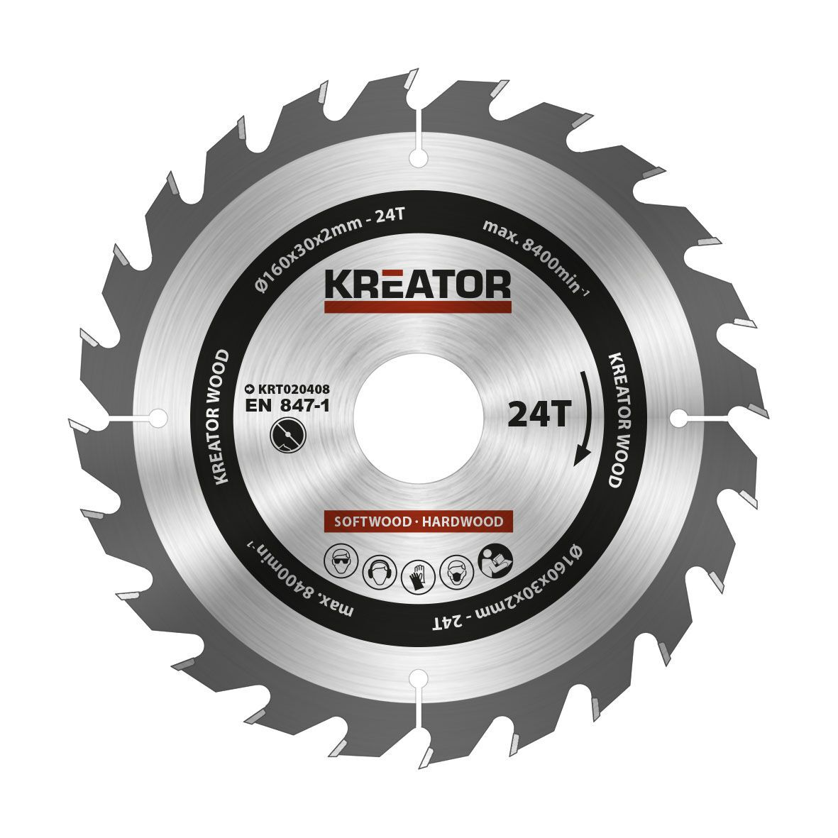 Kreator KRT020408 Cirkelzaagblad 160mm 24T   Zaagblad cirkelzaag hout