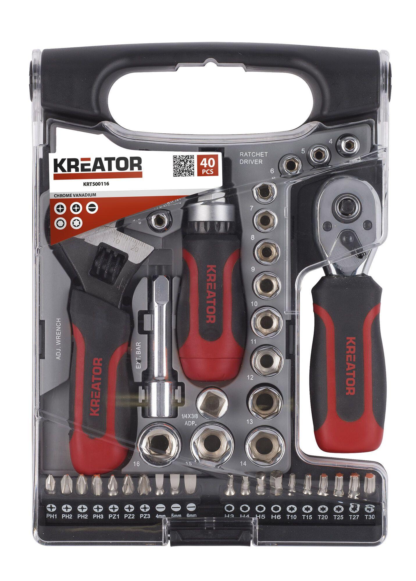"Kreator KRT500115 28-delige Dopsleutelset 1/4"" - ratelsleutel"