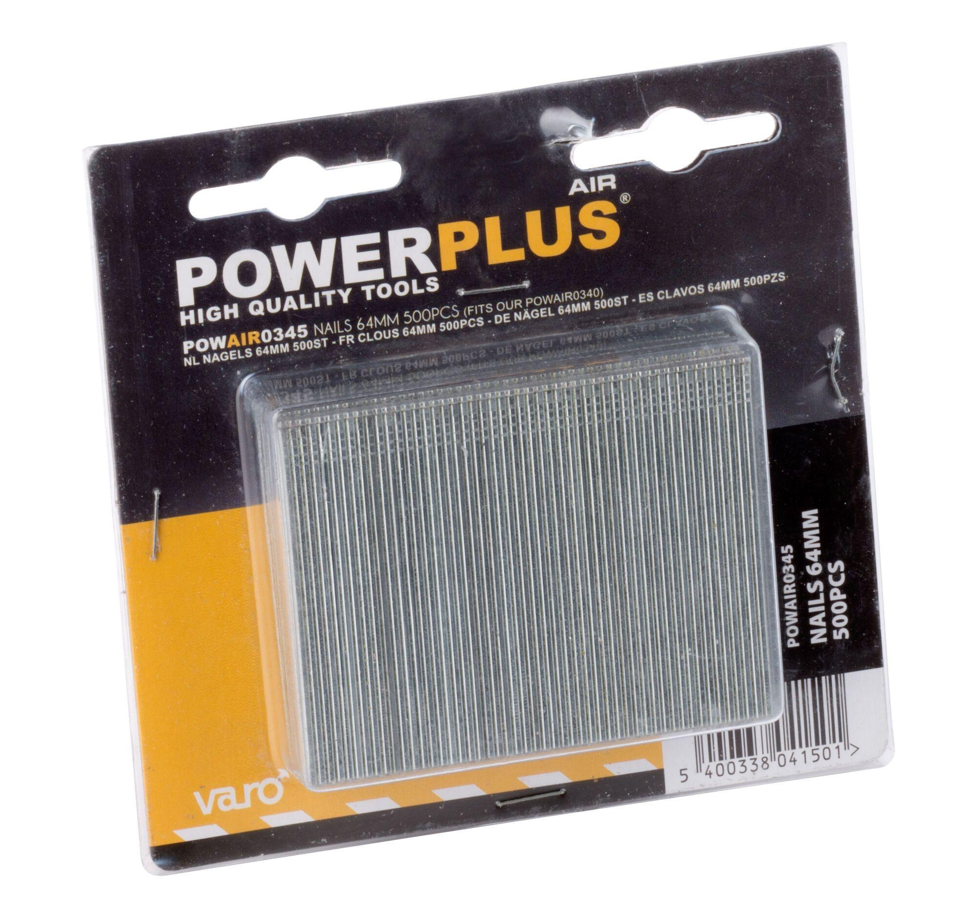 Powerplus POWAIR0345 500 Spijkers 64 mm | Stalen nagels voor nagelapparaat