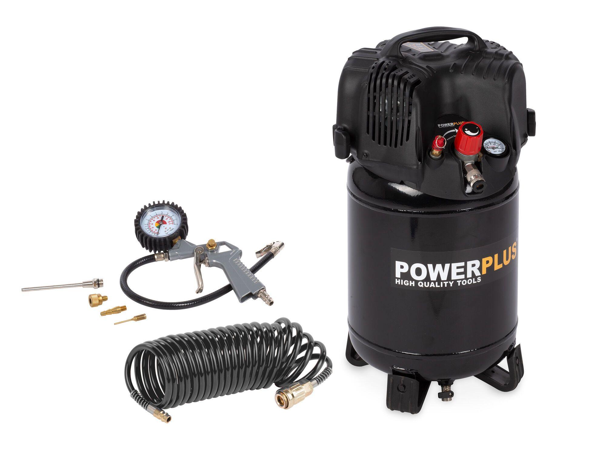 Powerplus POWX1731 1100W Compressor   Olievrij + 12 Accessoires
