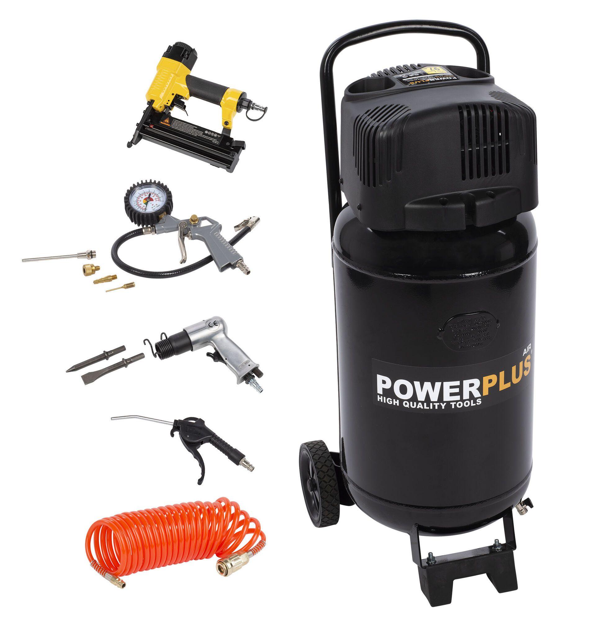 Powerplus POWX1751 1100W 50L Compressor   Olievrij + 12 Accessoires