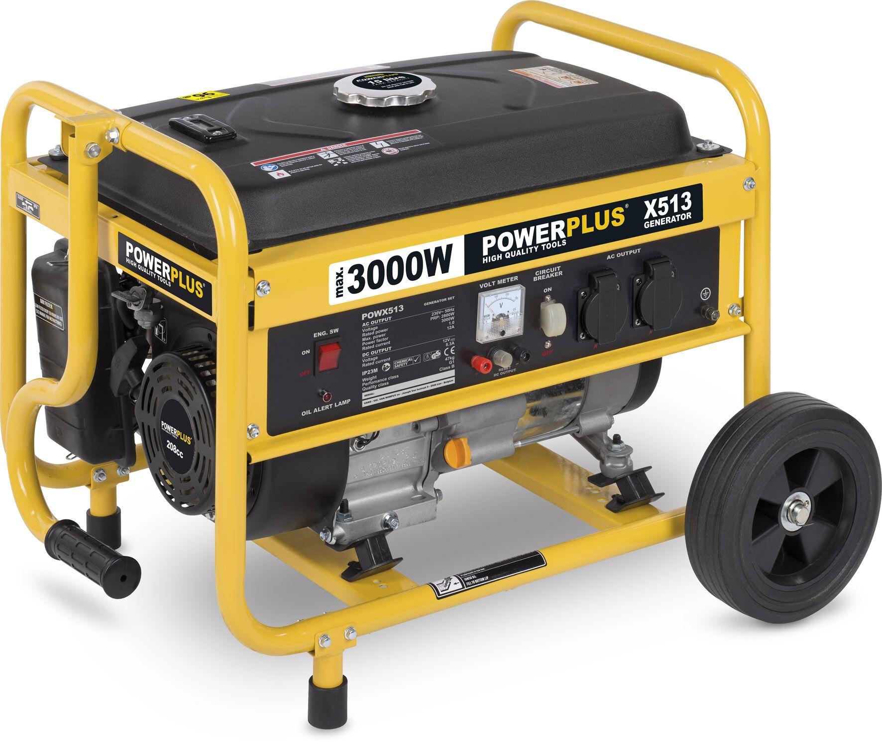 Powerplus POWX513 Benzine generator 208cc | Aggregaat 3000W 230V